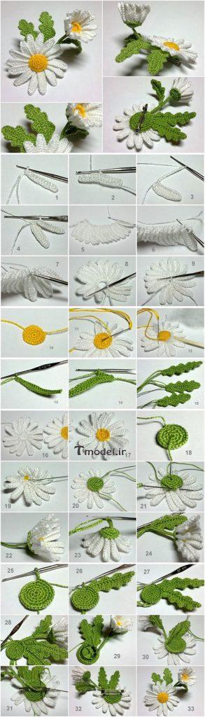آموزش تصویری گل قلاب بافی گل بابونه و بنفشه