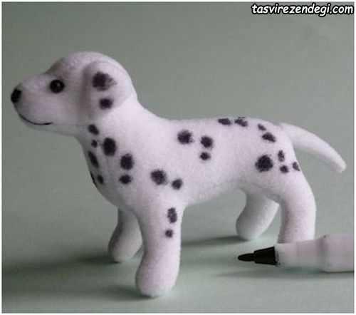 آموزش تصویری دوخت عروسک سگ خالدار با تصاویر مرحله به مرحله