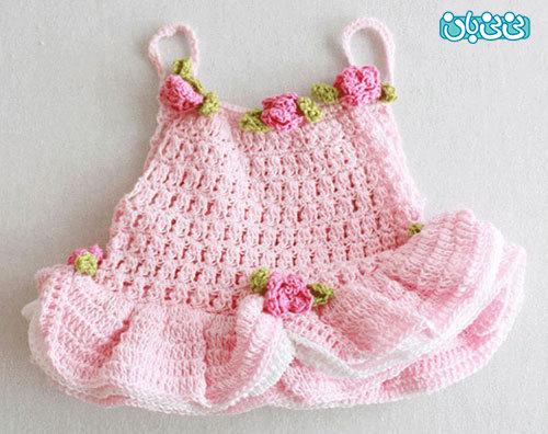 آموزش بافت لباس دخترانه ، پیراهن نوزادی زیبا
