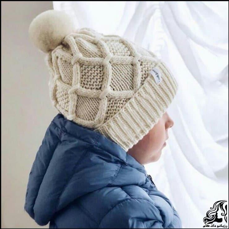 آموزش گام به گام و رج به رج بافت کلاه شیک پسرانه با طرح لوزی