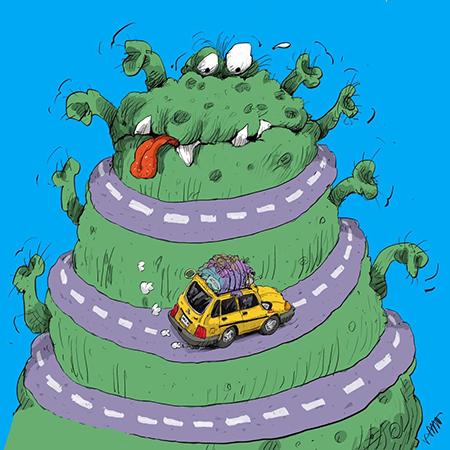 کاریکاتور مسافرت در روزهای کرونایی